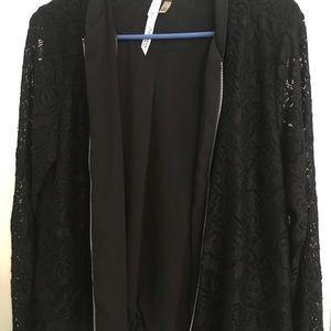 NY Collection Jackets & Coats - NY Collection Black jacket w/ lace sleeves med/p
